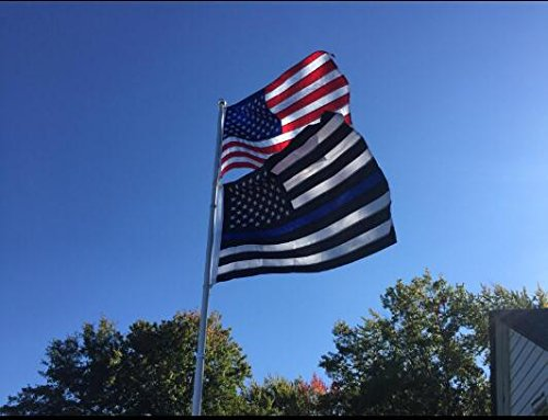 Thin Blue Line Flag 3x5 Ft Nylon Embroidered Stars Sewn Stripes Blue Line USA Banner Flags for Police and Law Enforcement Officers