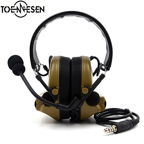 Electronic Earmuff Hearing Protector Noise Reduction Tactical Earphone with Talkbacks Microphone for Airsoft Paintball Hunting, Mud Color by TOENNESEN