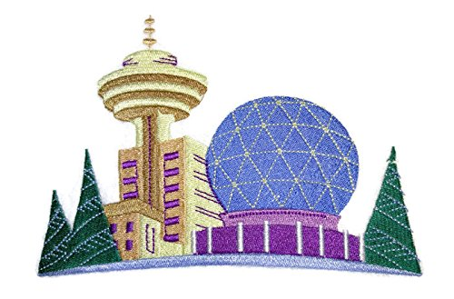 A 'Round the World City Squares{ Vancouver] Embroidered Iron on/Sew patch [7.1.