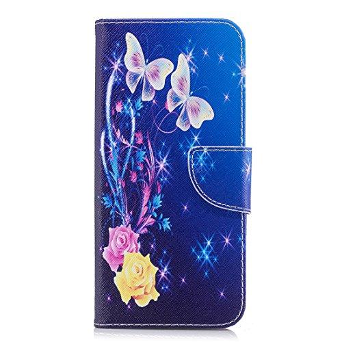 Hozor Samsung Galaxy S9 Plus cas, conception d'impression en aérosol peint, PU portefeuille en cuir Flip, avec fermeture magnétique, étui de protection avec fente pour carte / support Butterfly dance