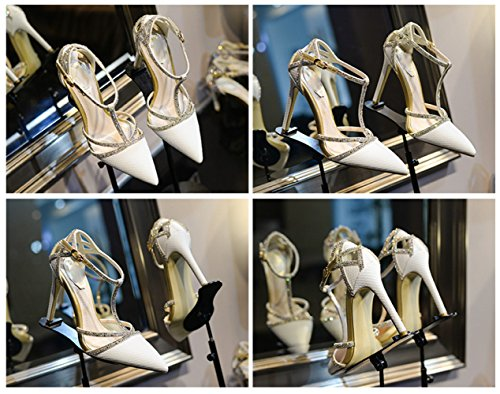 MOM Pointed high heels female sandals fine with rhinestones banquet shoes bridal shoes White fBHl3xpD