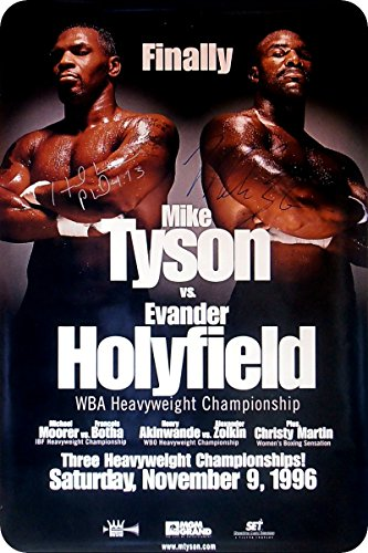 (METAL WALL SIGN Mike Tyson Evander Holyfield POSTER Classic BOX Fight Decor Bed Garage Vintage)