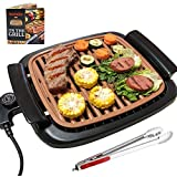 Nonstick Electric Indoor Smokeless Grill - Portable BBQ Grills with Recipes, Fast Heating, Adjustable Thermostat, Easy to Cle