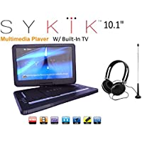 Sykik SYDVD9116 TV 10.1 Inch All multi region zone free HD swivel portable dvd player With Digital TV Atsc Tuner,USB,SD card slot with headphones, Ac adaptor ,car adaptor Remote control