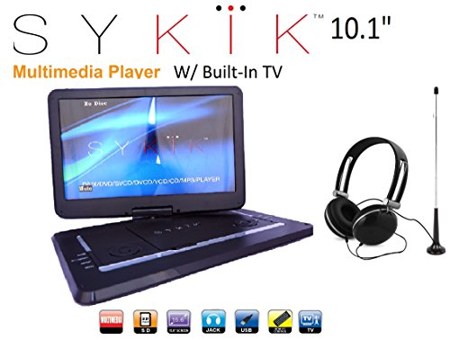 Sykik SYDVD9116 TV 10.1'' Inch All multi region zone free HD swivel portable dvd player With Digital TV Atsc Tuner,USB,SD card slot with headphones, Ac adaptor ,car adaptor Remote control