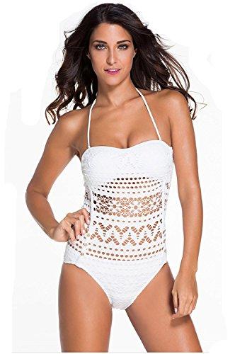 HZZ Un cabestro pieza para mujer del traje de baño ropa de playa Deportes traje de natación White