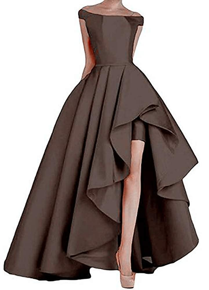 Coffee Yuki Isabelle Solid Lace Up Split Formal Gowns High Low Long Evening Party Dresses