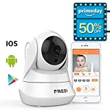 FREDI WiFi Wireless Camera with Remote Viewing Indoor Pan/Tilt Security IP Camera Baby Monitor Plug & Play, 2-Way Talking (White)
