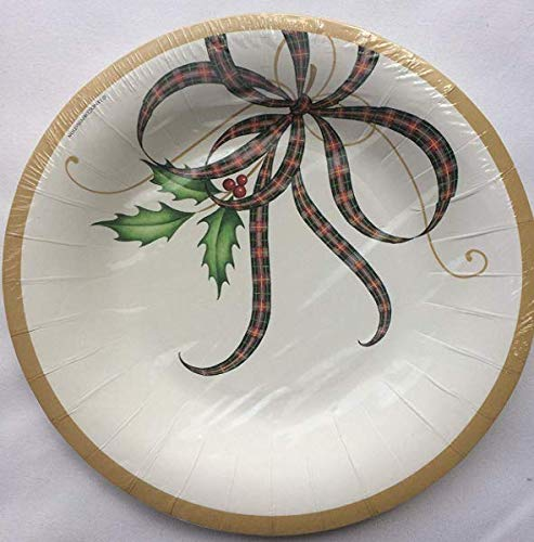 Lenox Ribbon - C. R. Gibson Lenox Holiday Nouveau Ribbon Disposable Paper Plates & Napkins Bundle Serves 8