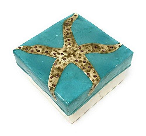Kubla Craft Starfish Capiz Shell Keepsake Box, 3 Inches Square