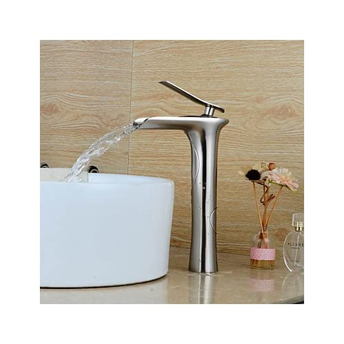 durable service W&P Personalized Contemporary Waterfall Single Handle Nickel Brushed Finish Bathroom Sink Faucet