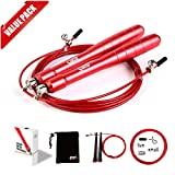 [2 Pack] Jump Rope - Best for MMA Boxing Crossfit Workout, Exclusive Ergonomic Aluminum Handle (Red)