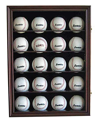 (20 Baseball or Cube Display Case Cabinet, with 98% UV Protection. with Lock and Keys (Cherry Finish - Solid Wood))