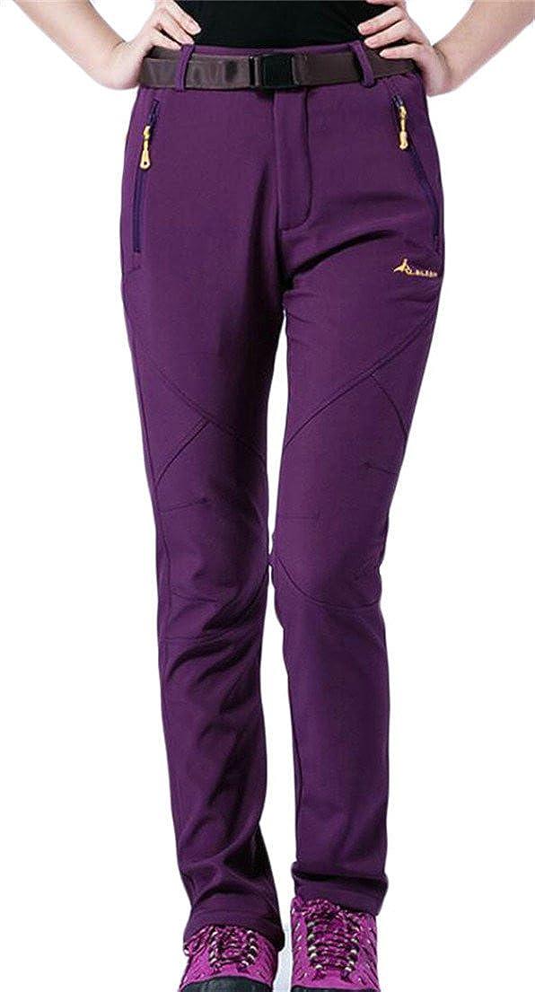 Oberora-Women Outdoor Waterproof Softshell Pants Fleece Hiking Ski Pants
