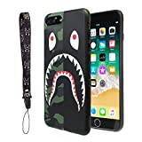 iPhone 7/8 Plus Shark Face Case Street Fashion: Luxury Flexible Durable Designer Protective TPU Cover/Bumper/Skin/Cushion with Wrist Strap only for 5.5' iPhone 7 Plus/8 Plus (Half Camo)