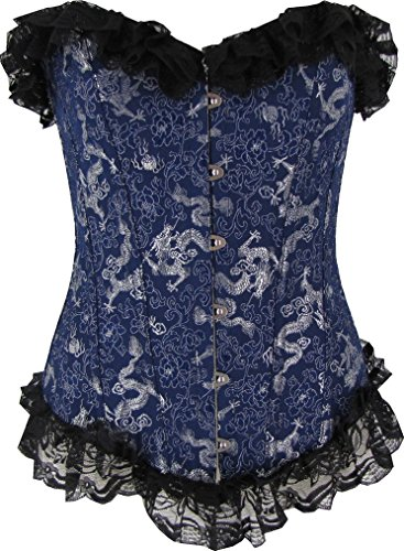Discreet Tiger Navy Blue Brocaded Dragon Corset with Floral Lace Trim XL