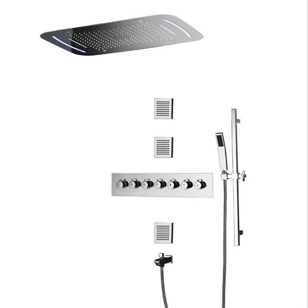 隠しシャワー銅シャワーシステム7機能LEDスプレーサーモスタットシャワーセット B07QKRW5V4