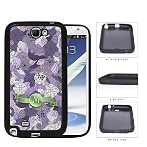 Pretty Purple Lilac Floral Flowers Pattern LETTER INITIAL MONOGRAM Green Stripe Banner Samsung Galaxy Note II 2 N7100 Rubber Silicone TPU Cell Phone Case