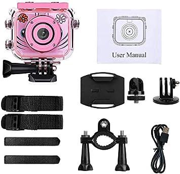Blu Kids Camera 1080P HD Fotocamera Digitale Azione Ricaricabile Videocamera Subacquea Videocamera Impermeabile Regalo di Compleanno Giocattolo Festival per Bambini con Schermo LCD da 2,0