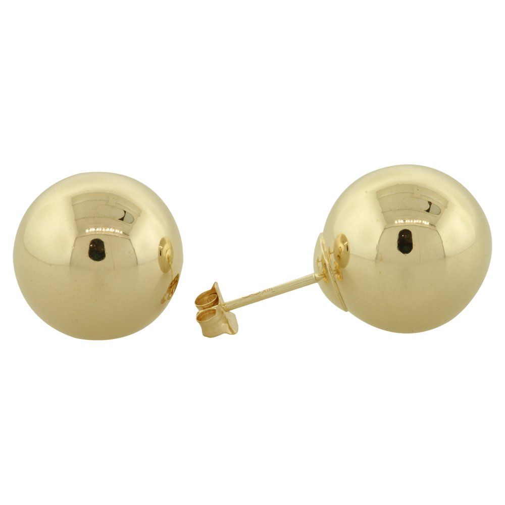 14K Yellow Gold Ball Stud Earrings 2, 3, 4, 5, 6, 7, 8, 9, 10, 12MM (12 Millimeters)