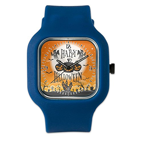 Navy Blue Fashion Sport Watch Happy Halloween Ghosts Pumpkins
