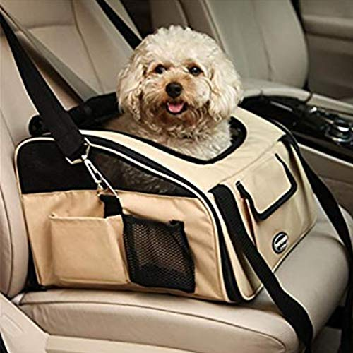 Adorrable Pet Travel Carriers Soft Sided Portable Bags for Dogs Cats Tote Airline Approved Under Seat,Khaki,Medium(16.14″ 13.39″ 11.81″)
