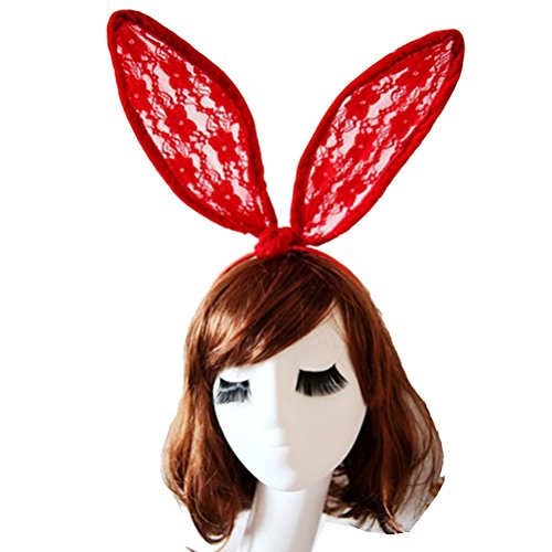 [Pixnor Sexy Red Lace Headband Sweet Bunny Rabbit Ear Hair Band for Wedding Party Cosplay Costume Accessory 25*12CM] (Lace Bunny Ears Costume)