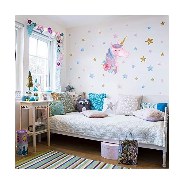 SONG'S IDEA Large Size Unicorn Wall Decal,2Packs,Unicorn Wall Sticker Decor with Hearts and Stars for Girls Rooms Baby… 7