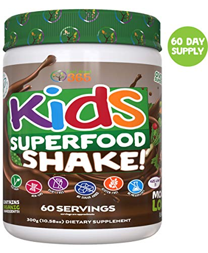 Kids Superfood Shake Mocha Greens Powder by Feel Great 365 (60 Servings), 100% Non-GMO, Made with Real Fruits & Vegetables, Multivitamin, Vegan Blend. Helps Build Immunity and Big Brains. (Best Superfoods For Weight Gain)
