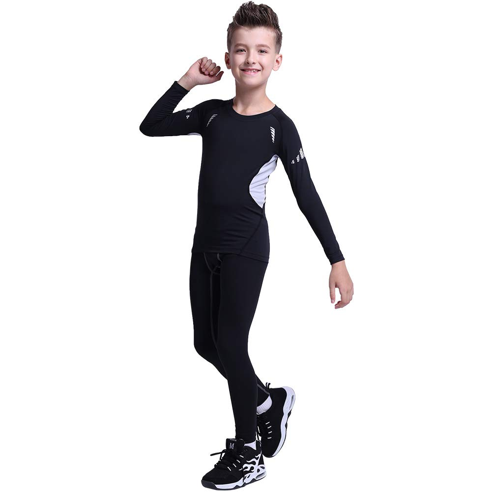 Tesuwel Boys Girls Compression Shirts Pants Base Layer Thermal Underwear Set 2 Pcs 3339 3279