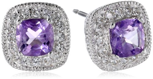 Sterling Silver Genuine African Amethyst and Created White Sapphire Cushion Stud Earrings (Amethyst Sapphire Stud)
