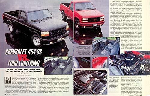 (*PRINT ROAD TEST* 1993 CHEVROLET 454 SS PICKUP vs. FORD F150 SVT LIGHTNING VINTAGE ORIGINAL FULL-COLOR - USA - MOTOR TREND !! (CVHPLSMT693))