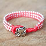 Silver Triple Wrap Elephant Bracelet, Baby Girl Jewelry, Mom & Daughter Bracelet, Birthday Gift For Kid, Flower Girl Handmade Gift - Red