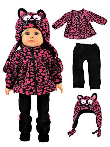 Kitty Cat Hot Pink Leopard Outfit -Fits 18