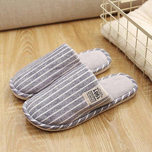 Indoor Home Warm Soft Stripe Anti Gray Light Winter Slippers Shoes Slip Ikevan wEn7qIB8x