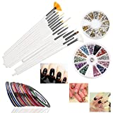 RUIMIO 30 Nail Striping Tape, 15 Nail Art Brush, 12 Colors Nail Rhinestones, 3D Nail Art Gold / Silver Studs