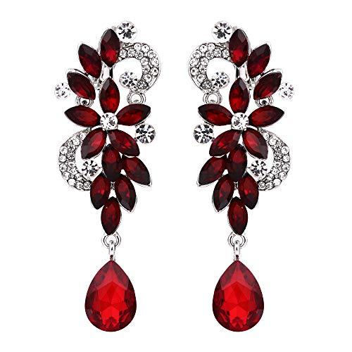 Floral Crystal Earrings Drop (BriLove Wedding Bridal Clip On Earrings for Women Bohemian Boho Crystal Flower Chandelier Teardrop Bling Long Dangle Earrings Ruby Color Silver-Tone)