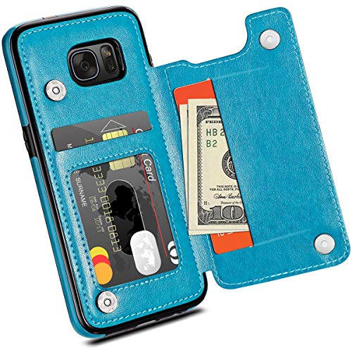 HianDier Wallet Case for Galaxy S7 Edge, Slim Protective Case with Credit Card Slot Holder Flip Folio Soft PU Leather Magnetic Closure Cover Case Compatible with Samsung Galaxy S7 Edge, Lake Blue