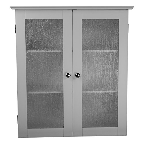 (Elegant Home Fashions Highland Double Glass Doors White Finished with Chrome Finished Knobs MDF and Textured Glass Manufactured Wall Cabinet)