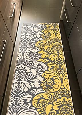 Custom Size Floral Damask Rubber Backed Non-Slip Hallway Stair Runner Rug Carpet 22 or 31 Inch Wide Choose Your Length