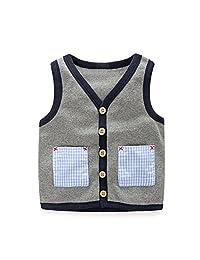 Mud Kingdom Boys' Animal in Bus Embroidery Cute Vest Outerwear