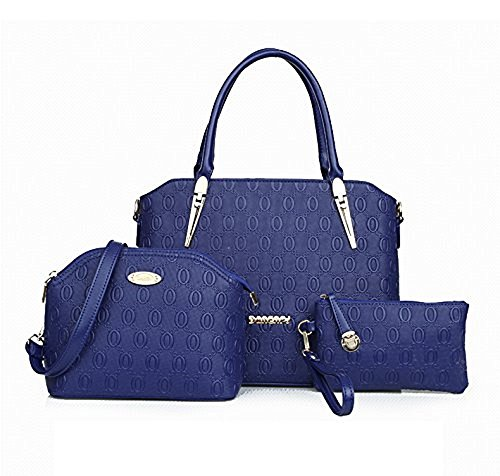 2016 Modern And Fashionable Pu Lady Bag Tote Bag Three Pieces In One Set (blue)