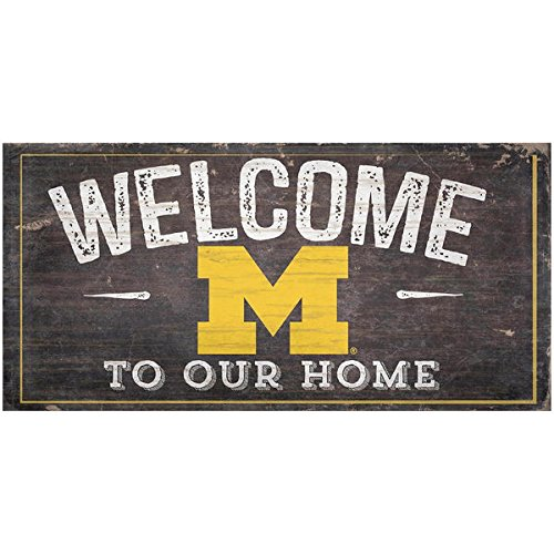 Fan Creations NCAA Michigan Wolverines 12 x 6 Distressed Welcome to Our Home Wood Sign