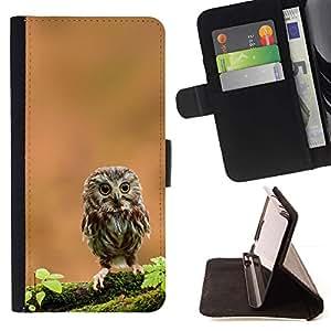 Momo Phone Case / Flip Funda de Cuero Case Cover - El Curioso búho lindo - HTC One A9