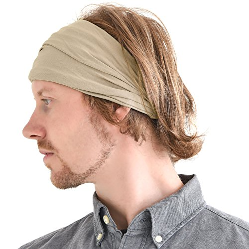 Casualbox mens Head cover Band Bandana Stretch Hair Style Japanese Beige 4e90dabeec0