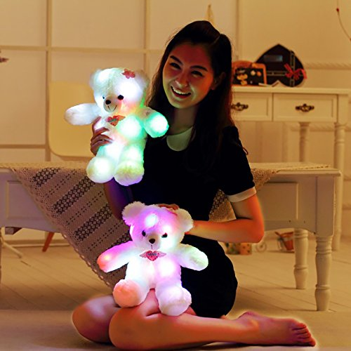 15 Sweet LOVE Heart LED Light Up Teddy Bear 7 Colors Changing Stuffed Plush Baby Comforter Toys Birthday Gift Christmas Present