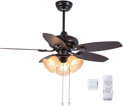 Ventilador Techo con Luz con Control Doble/Iluminación Interior/Luces/Lámparas/Sala De Estar/Dormitorio/Cocina/Diámetro 42 Pulgadas 107 Cm 5 Hoja E27 * 3 THBEIBEI ...