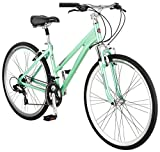 Schwinn Siro Comfort Hybrid Bicycle, Lightweight Aluminum Step-Through Frame, Front Suspension Fork, Padded Suspension Seat, 21-Speed Shimano Drivetrain, and 700c Wheels, Light Green, S2621AZ, 16'/Small