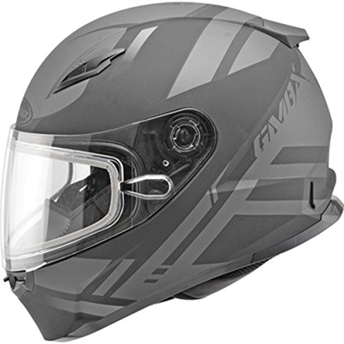 (GMAX Mens FF49 Berg Snow Racing Snowmobile Helmet - Flat Black/Silver X-Large)
