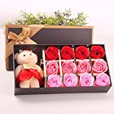 Menshow(メンズショウ) 母の日 花 熊のぬいぐるみ 石鹸の花 枯れない花 クマ付き 綺麗な花束 造花 ソープフラワー ローズフラワー 贈り物 誕生日 バレンタインデー 結婚 お祝い bear red